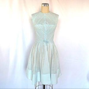 Vintage 50s Blue Sheer Dress Lace Medium